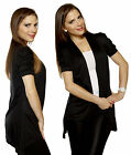Plus BL Draped PUFF Ruched Short Sleeve Knit Layering Jacket Open Front Cardigan