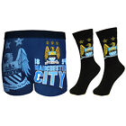 Manchester City FC Official Football Gift Mens Socks Boxer Shorts Set(RRP£14.99)