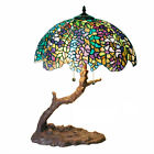 "Table Lamp Handcrafted Tiffany Style Tree Lamp Stained Glass Shade 25 "" High"