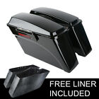 New Vivid Hard Saddle Bags W Lid Latch Keys For Harley Softail DYNA Sportster