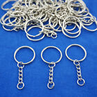 10-100pcs Wholesale DIY 25mm Silver Keyring Keychain Split Ring Short Chain Key