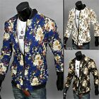 3 Colors Men's Top Clothing Fashion Floral Casual Jackets Jacket Zipper Coat GBW