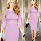 Fashion Women Lace Crotchet Cocktail Party Sheath Tunic Pencil Dress 091 CAHF