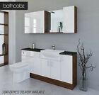 WHITE / OLIVEWOOD BATHROOM FITTED FURNITURE 1700MM WITH WALL