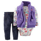 Carter's Girls 3 Piece Purple Fleece Vest with Embroidered Flower, Grey Floral P