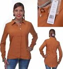 Romeo & Juliet Couture Collared Chiffon Blouse Top (Caramel Colored)