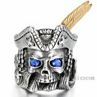 Men's Stainless Steel Ring Blue Cz Silver Gold Tone Pirate Skull Feather Gothic