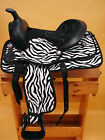"""10"""" OR 13"""" Black & White Zebra Synthetic Youth Western Saddle w Headstall & BC"""