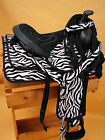 "10"" OR 13"" Black & White Zebra Synthetic Youth Western Saddle w Headstall & BC"