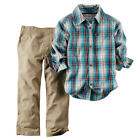 Carter's Boys 2 Piece Blue/Red Plaid Short Sleeve Button Down Shir - Toddler