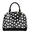 Patent Faux Leather Top Handle Bag Embossed Daisies Floral Print Office Summer