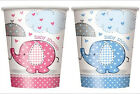 Umbrella Elephant Baby Shower Cups Pink Blue Girl Boy Party Supplies Decorations