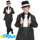 Boys Gangster Zoot Suit Costume Pinstripe Mafia Bugsy Malone Fancy Dress Outfit