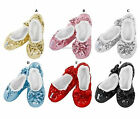 Snoozies - CHILDREN'S SHERPA FLEECE COSY SLIPPERS - Sequin Bling Ballet Tween