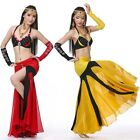 SF716 Belly Dance Costume Contrast Color 4pcs Bra Skirt 2 Gloves 7 Colors