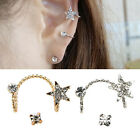 Expected Crystal Five Star Shape Ear Stud Wrap Earring Cuff Eardrop Jewelry HFA