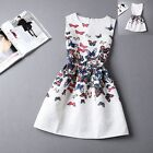 Women Girls Princess Retro Printed Wedding Formal Party Fancy Dress S-M--L-XL