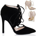 WOMENS LACE UP POINTED TOE HIGH HEEL STILETTO SHOES SZ 3-8