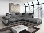 black friday dino fabric leather corner sofa armchair footstool black grey brown