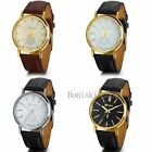 Classic Mens Womens Luxury Leather Band Gold Tone Dial Analog Quartz Wrist Watch image