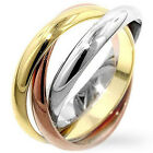 Stainless Steel Romantic Forever Love Triple Russian Rolling Band Ring Size 3-12