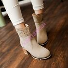 Womens Hollow Out Block Heels Retro Faux Suede Riding Ankle Boots Round Toe NEW