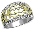 Size P R T 8 9 10 Two Tone Anniversary Band Ring Yellow Celtic Heart LTK1792E