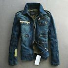 Chic Mens Long Sleeve Denim Jean Jackets Coats Casual Western Cowboy Jacket Blue