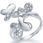 925 Sterling Silver Pave Set Clear CZ Butterflies Love Cocktail Ring Size 3-11