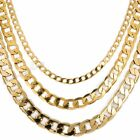 4/8/10MM Curb Cuban Link Yellow Gold Filled GF Necklace Boys Mens Chain 18-36''