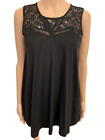 New COAST LINDY Black Jersey Lace Sleeveless Casual Vest Top Size 10 - 18