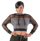 Poetic Justice Curvy Women's Black French Terry Mesh Long Sleeve Pullover Hoodie