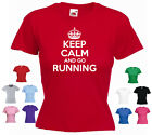 'Keep Calm and Go Running' Ladies Girls Funny Jogging Fitness T-shirt Tee