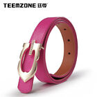 Women Lady Gril Solid Color Metal Buckle Leather Waist Belt Thin Waistband Rose