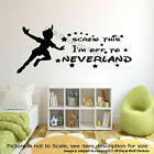 Walt Disney Peter Pan Quotes Off to Neverland Wall Stickers Nursery Decals Mural