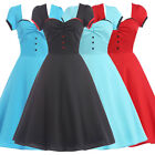 NEW VINTAGE 1950s ROCKABILLY BLACK RED BLUE CAP SLEEVE SWING PARTY EVENING DRESS