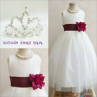 Adorable Ivory/burgundy wine flower girl party dress FREE SMALL TIARA all sizes