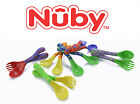 2 PAIR PACK Nuby Baby Toddler Easy Grip Feeding Forks Spoons BPA FREE 18mo+ NEW