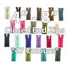 "No.3 CLOSED END 4"" 5"" 6"" 7"" 8"" NYLON ZIPS ZIPPER *47 COLOURS* SEWING REPLACEMENT"