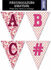 Two Up Two Down Fete Pink Personalised Bunting (Letters A-Z & Symbols)