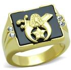 Shriner Masonic Ring Mens Yellow Steel LTK1890E Size 8 10 11 12 13 P R T V W Z+1