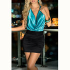 STON Women Deep V-neck Sleeveless Backless Halter Sexy Slim Ice Silk Club Dress