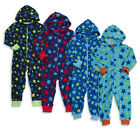 ONEZEE Childrens Infant Boys Printed Fleece Onesie Hooded Warm Nightwear 2-6