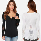2015 Sexy Women Splicing See-through Lace Long Sleeve T-shirt Casual Tops Blouse