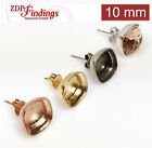 Choose Your Finish - 10mm Square Classic Bezel Post Earrings.fit Swarovski 4470
