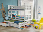 3 SLEEPER Triple Bunk Bed DREAM3  3ft Pine Wooden Beds MATTRESSES & STORAGE