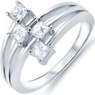 925 Sterling Silver Princess Clear CZ Engagement Wedding Side Way Ring Size 3-11