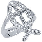 925 Sterling Silver Round Clear CZ Ichthus Sign Cross Sideways Ring Size 3-11