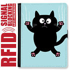 CAT KITTY GENUINE LEATHER RFID ANTI THEFT PASSPORT WALLET ORGANIZER COVER HOLDER