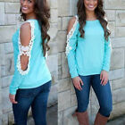 New Women Lady Casual Fashion Lace Long Sleeve Tops Blouse Tee T-Shirt